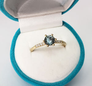 Montana Sapphire with Canadian Diamonds Gold Ring