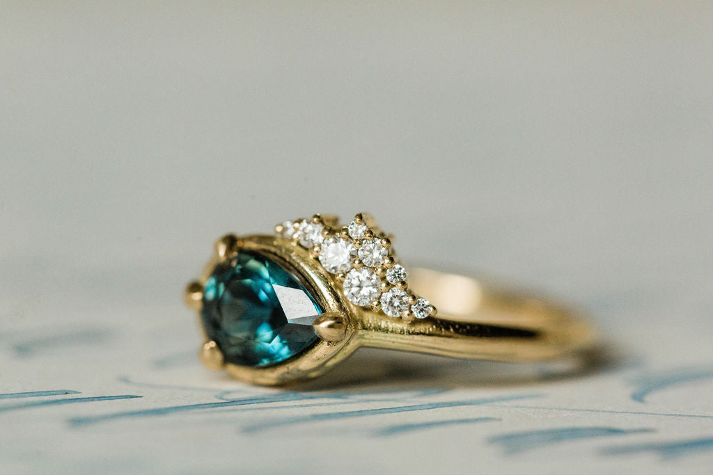 Pear Cut Turquoise with Canadian Diamonds Engagement Ring