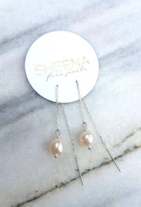Natural pearl sterling silver threader earrings