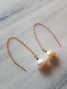 Organically shaped large pearl 14k gold filled threader earrings