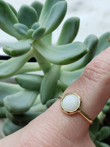 Round Opal bezel set ring in 14k yellow gold,  engagement ring
