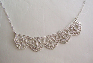 Lace silver necklace leaf pattern  for women