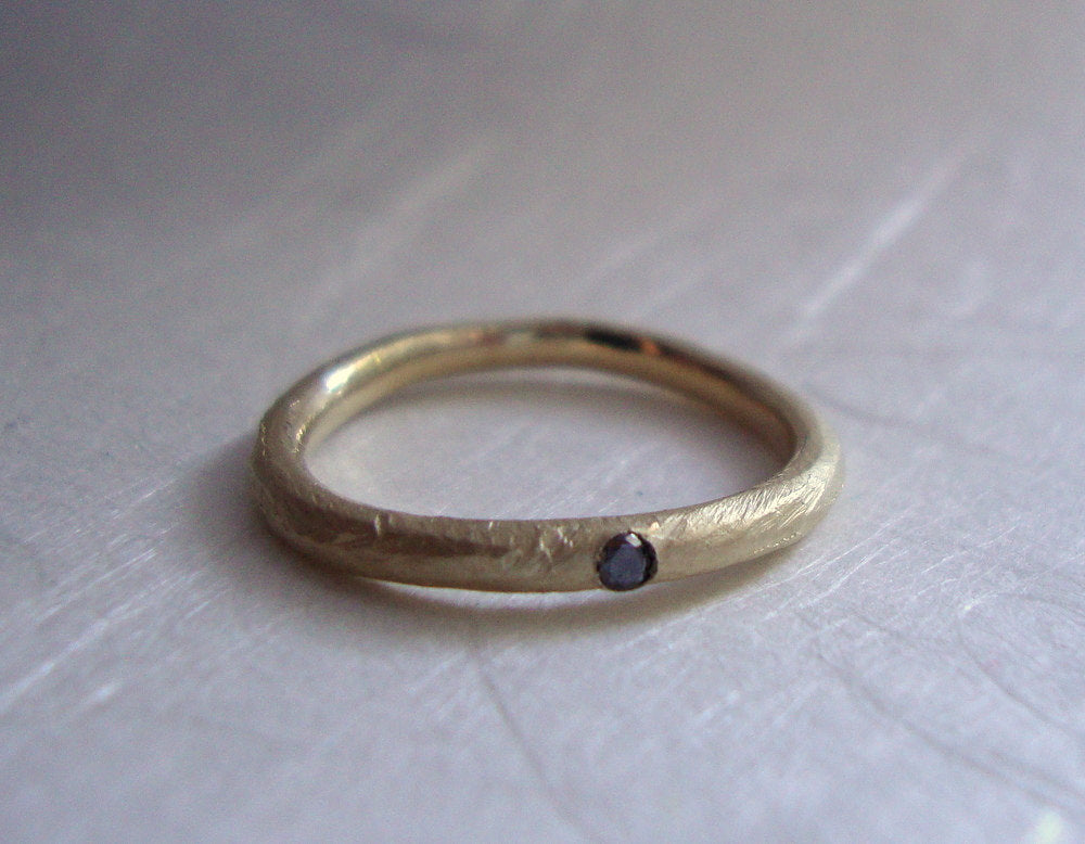 Rough band ring in solid 10k yellow gold with black diamond- wedding ring