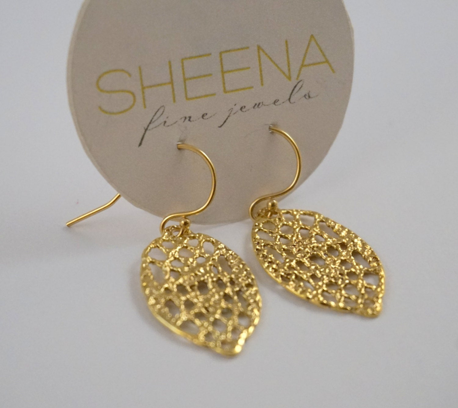 Lace drop earrings in 14k gold filled
