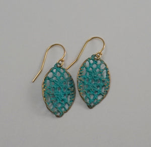 Lace drop earrings in verdigris blue patina with 14k gold filled hooks
