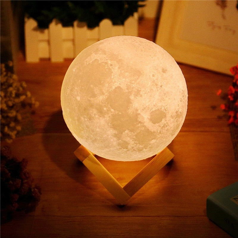 Rechargeable LED 3D Moon Lamp - Space and Fantasy