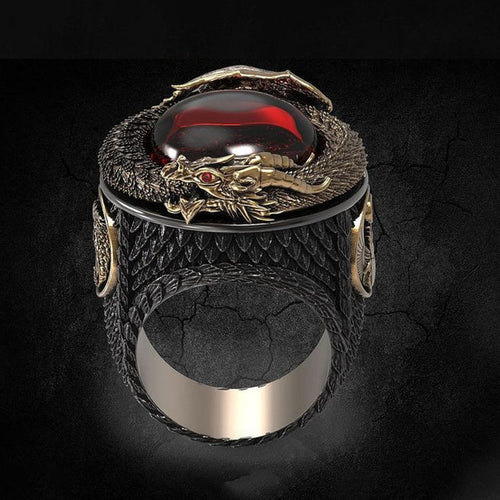 Red Eye of the Dragon Ring - Space and Fantasy