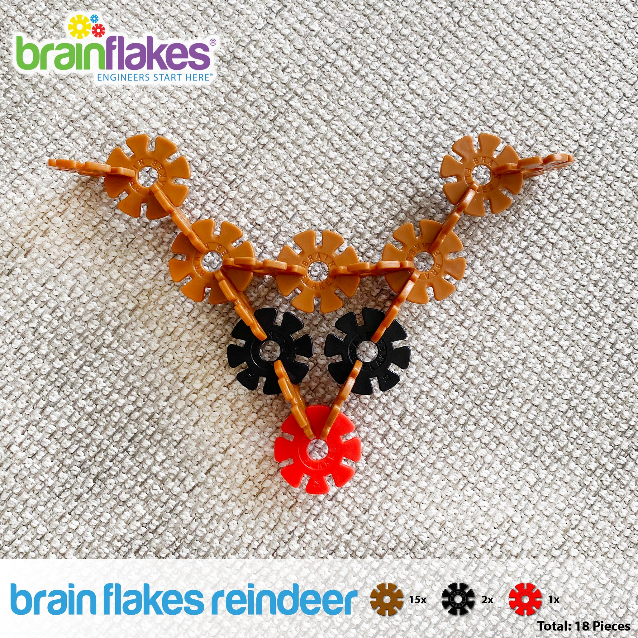 Brain Flakes Holiday Ornaments Building Guide reindeer