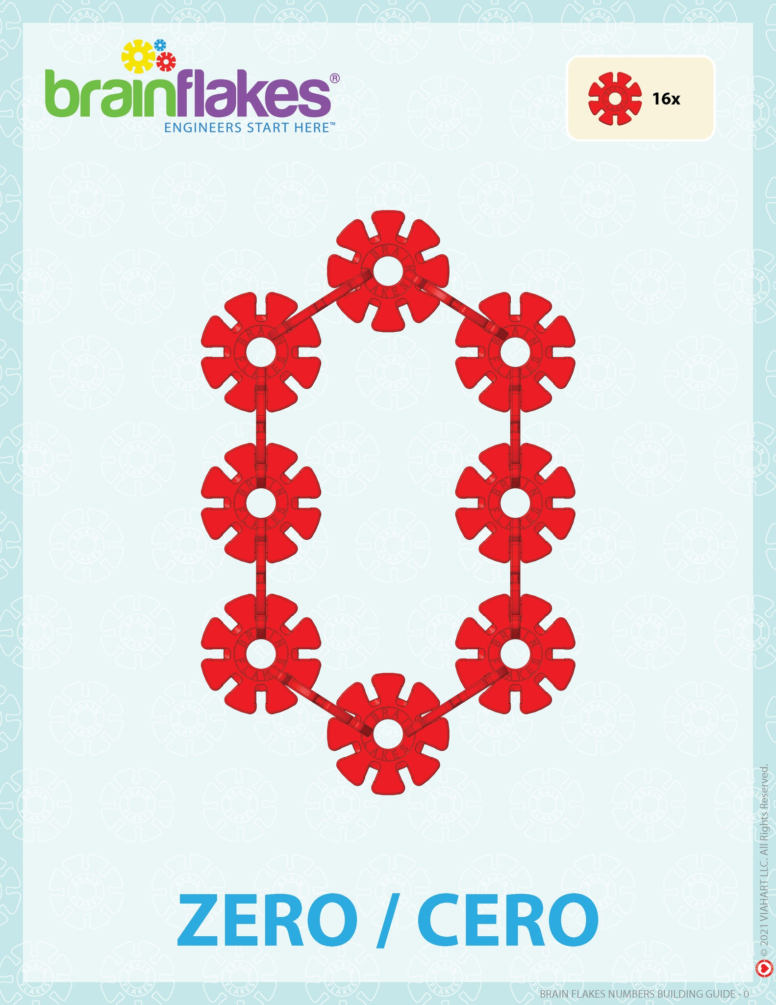 Brain Flakes numbers bilingual building task cards guide number 0