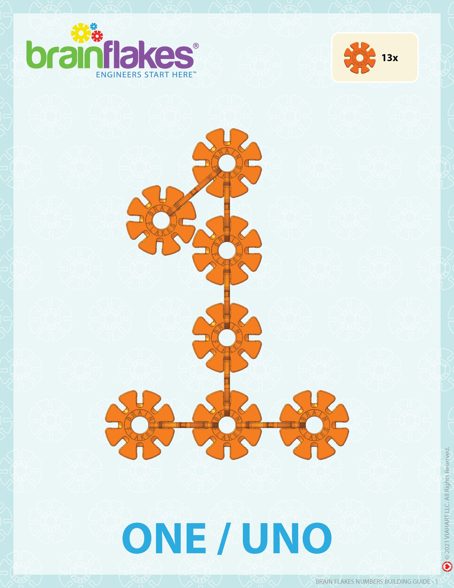Brain Flakes numbers bilingual building task cards guide number 1