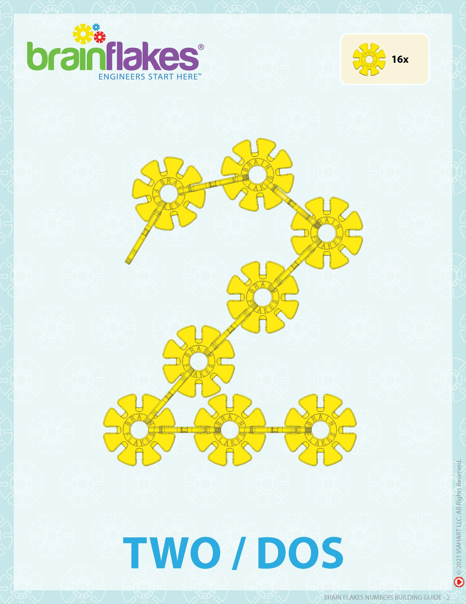 Brain Flakes numbers bilingual building task cards guide number 2