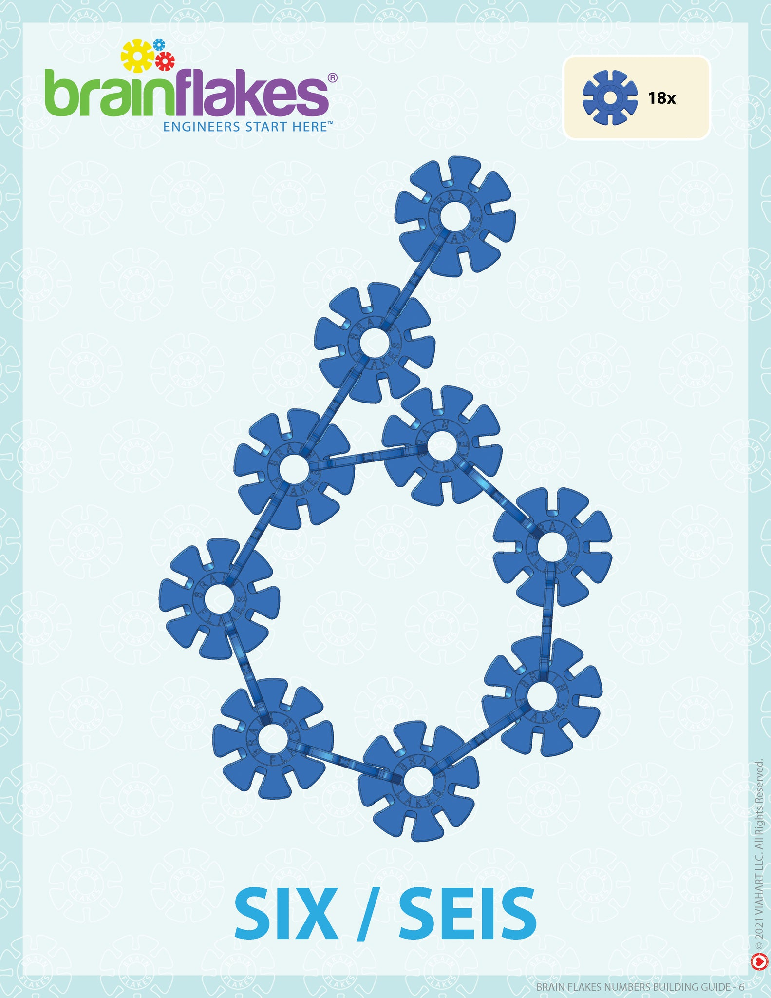 Brain Flakes numbers bilingual building task cards guide number 6