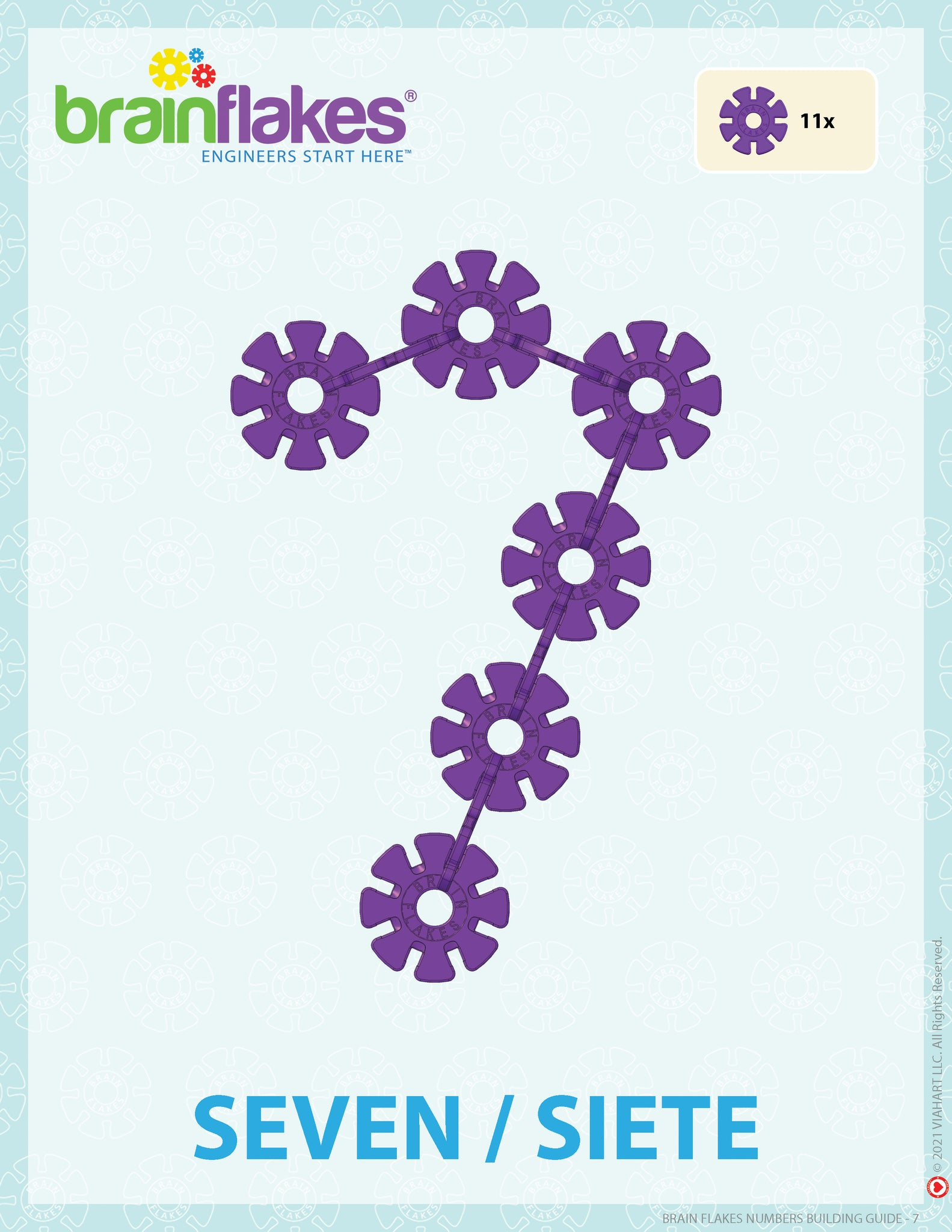 Brain Flakes numbers bilingual building task cards guide number 7