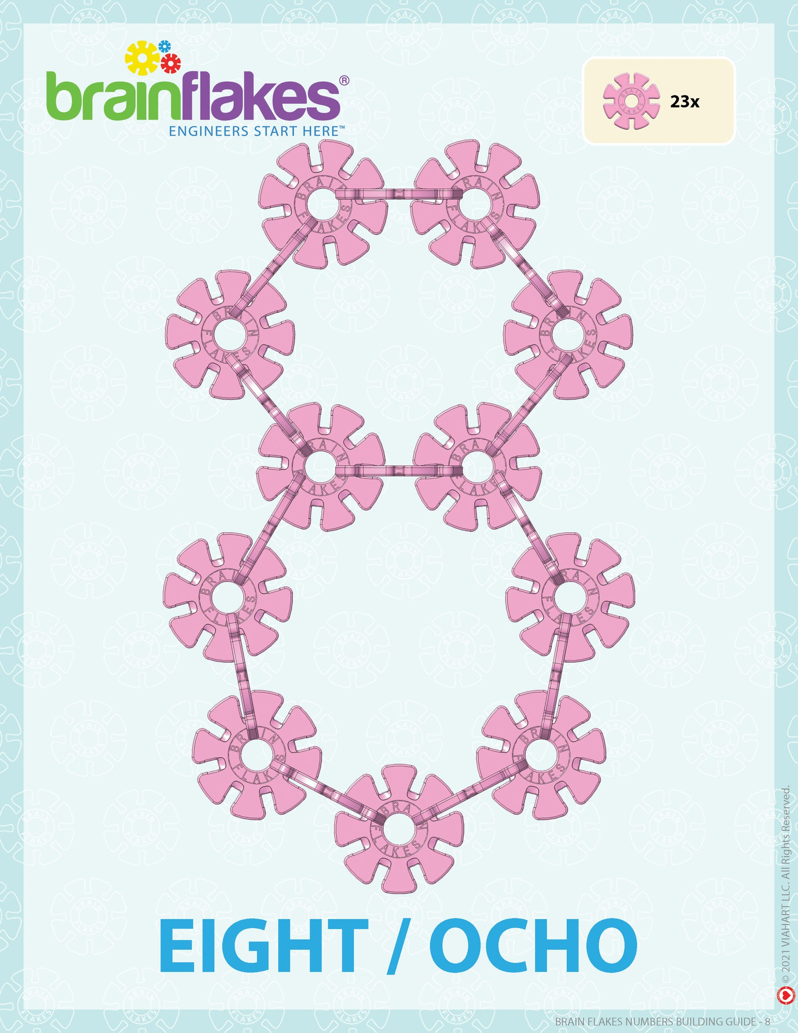 Brain Flakes numbers bilingual building task cards guide number 8