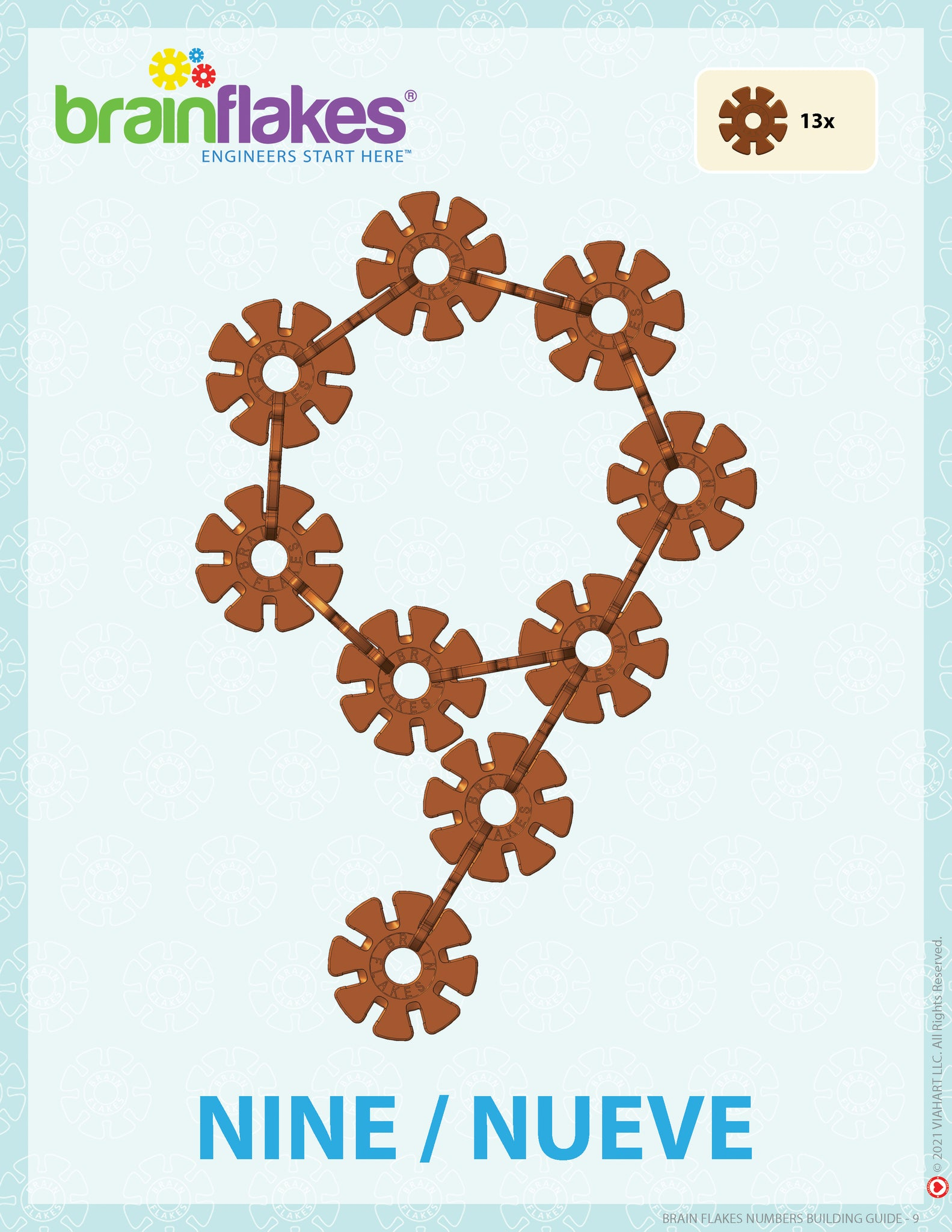 Brain Flakes numbers bilingual building task cards guide number 9