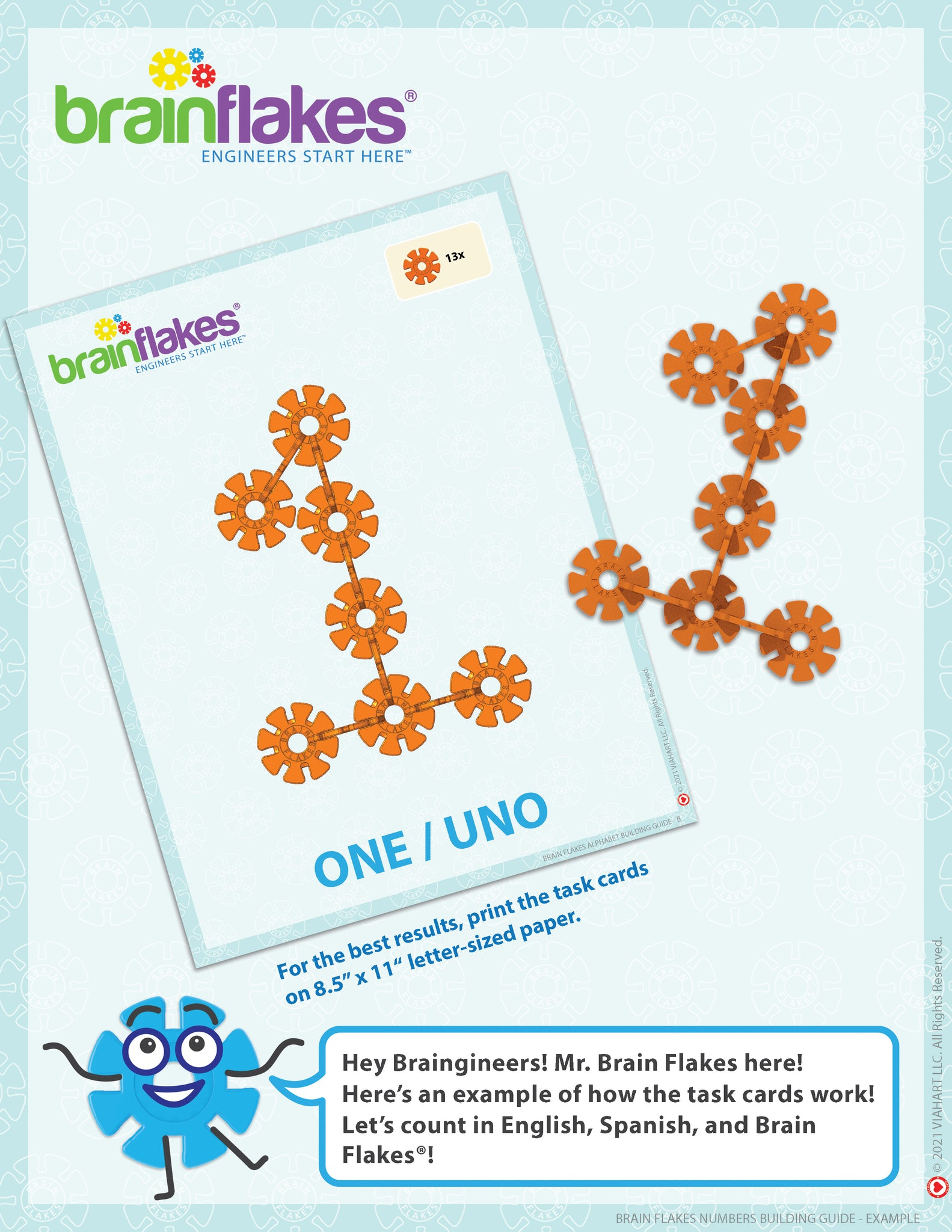 Brain Flakes numbers bilingual building task cards guide 3