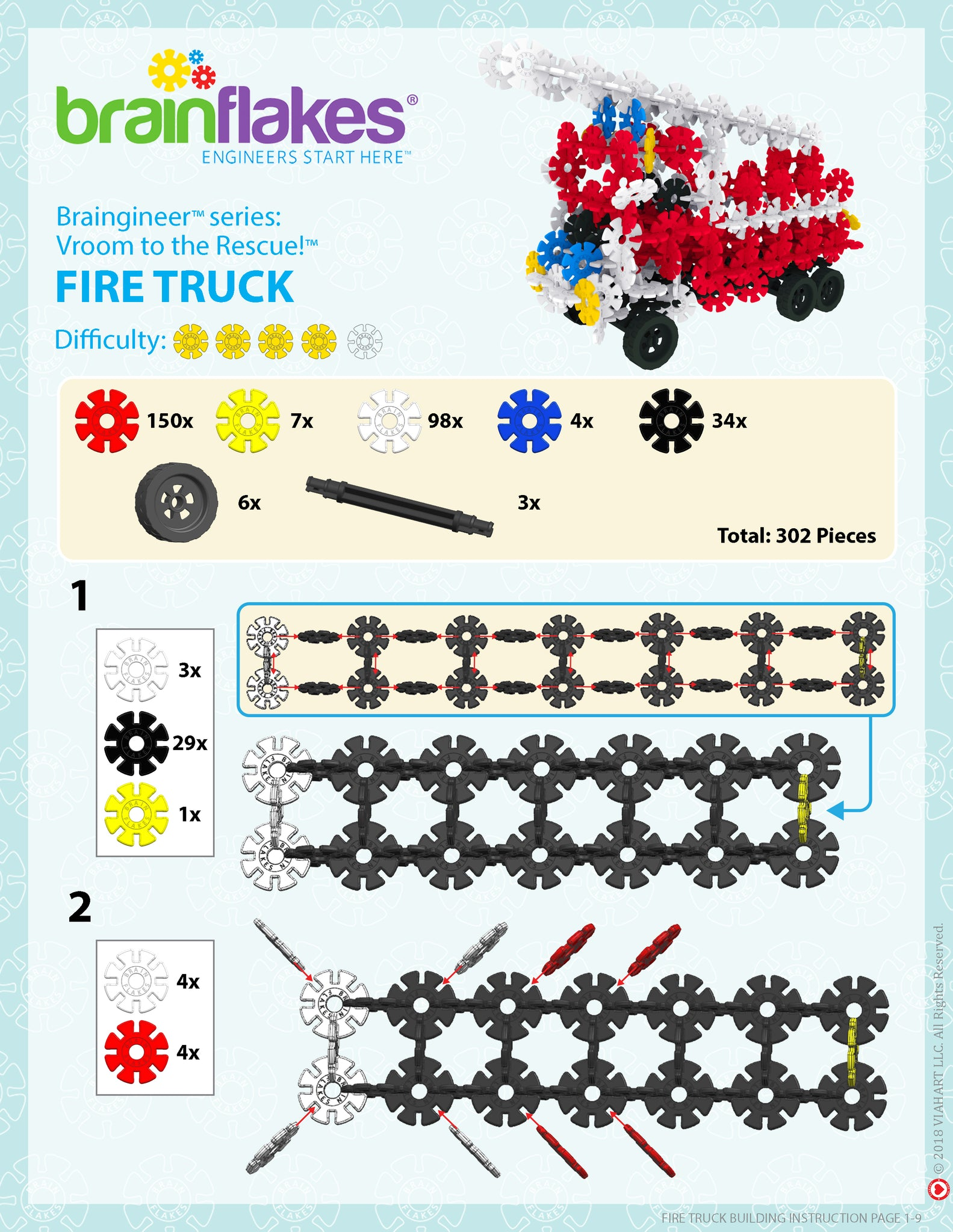 Brain Flakes Fire Truck Building Instructions 1