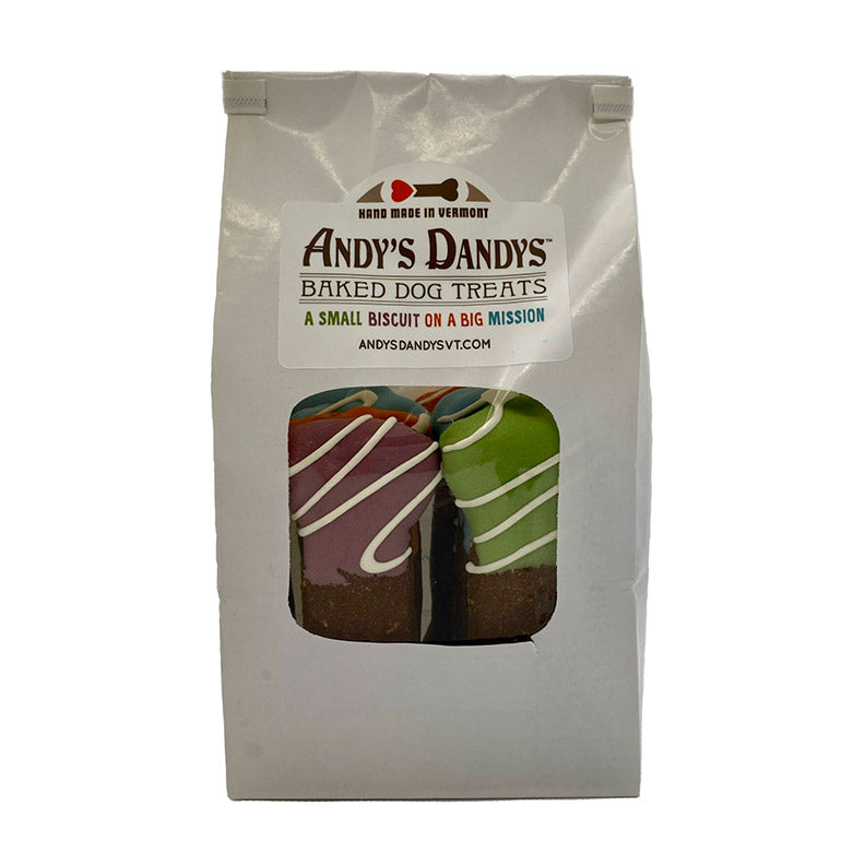 White bakery bag of Andy's Dandys baked dog biscuits mixed flavors