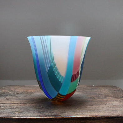 Large multi coloured glass vessel made by glass artist Ruth Shelley