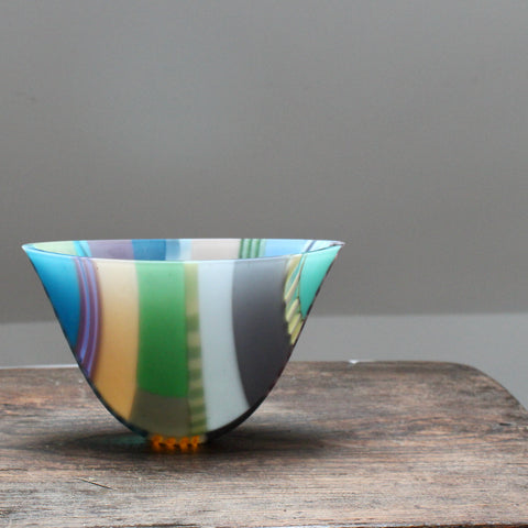 multi coloured glass vessel made by glass artist Ruth Shelley