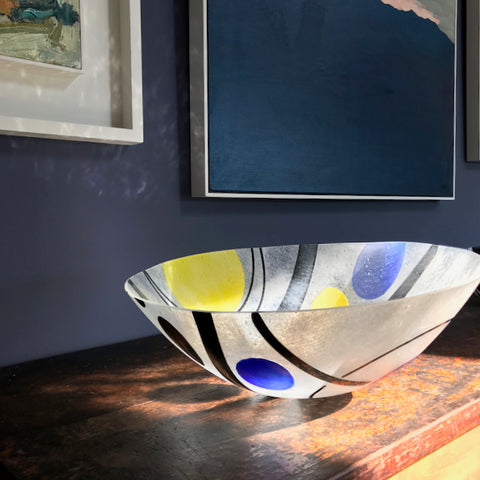 Helen Eastham glass vessel, the Byre Gallery, Cornwall