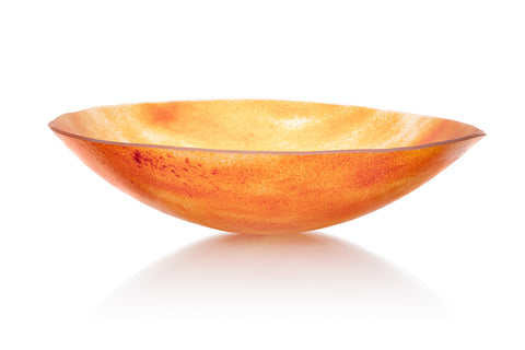 large shallow orange bowl by glass artist Helen Eastham