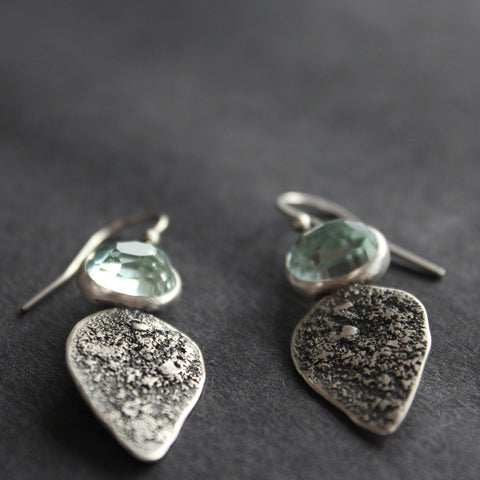 Silver drop earrings with pale blue stones