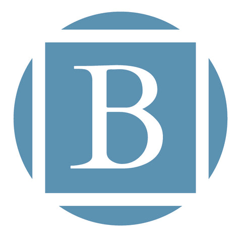 Byre Gallery logo of a capital B in a blue square surrounded by a circle