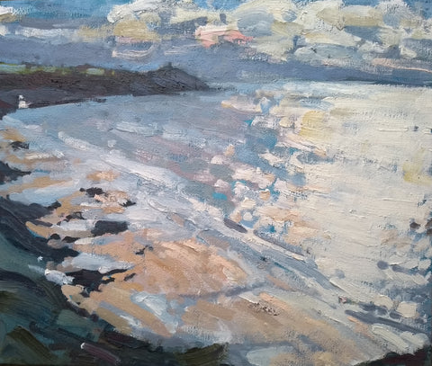 Sea scape painting of the south Cornwall coast pink and blue sea and sky by Cornwall artist Jill Hudson at the Byre Gallery