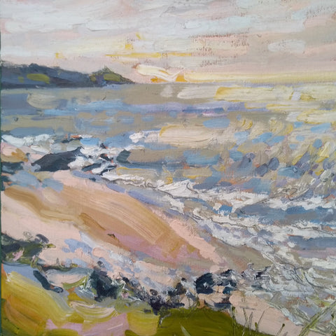 painting by Cornwall artist Jill Hudson of the Rame Head peninsula with a blue and pink sea in the foreground