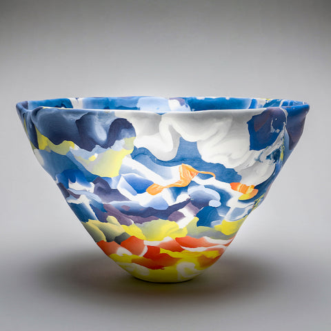 Multi-coloured ceramic bowl by artist Judy McKenzie
