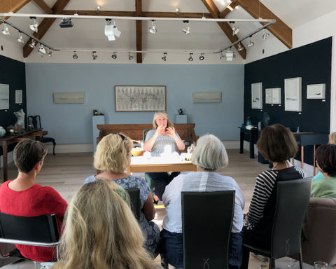 Loraine Rutt of the Little Globe Company giving a talk about her ceramic globes at the Byre Gallery in 2018