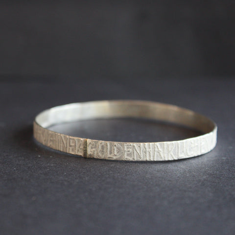 silver bangle by Cornwall jewellery Lucy Spink