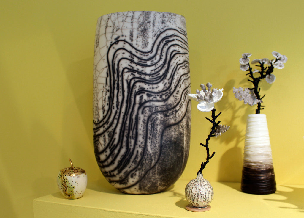 Golden apple by Remon Jephcott, Lewisian vessel by Moyra Stewart and Textile Flora by Claire Crompton
