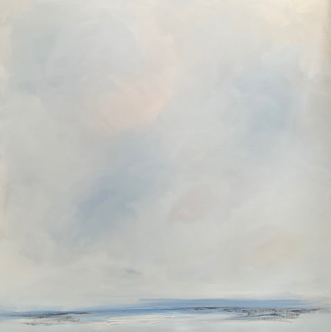 pale blue and grey seascape by Cornwall artist Nicola Mosley