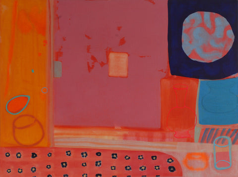 Abstract painting by Ella Carty in red, blues and oranges