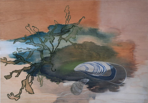 Abstract painting of seaweed and shells