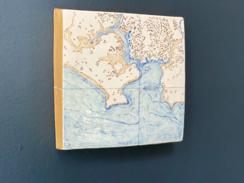a ceramic map of Plymouth Sound and Rame Head in south west England made by Loraine Rutt of the Little Globe company