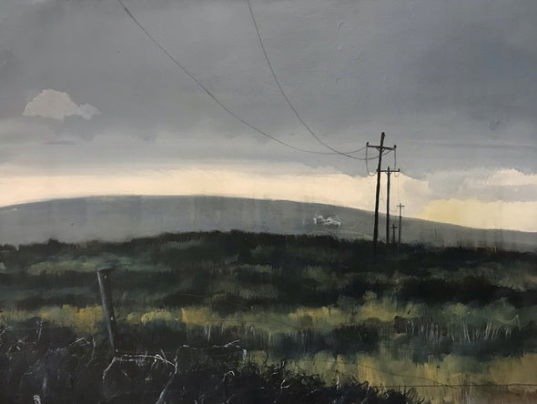 landscape painting featuring hills and field and telegraph pole