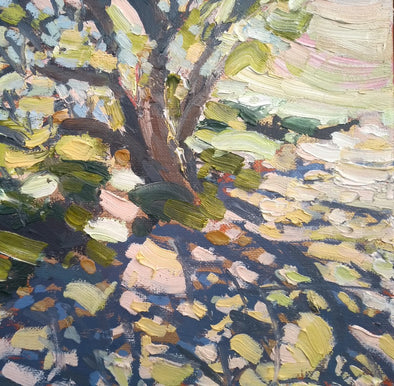 Jill Hudson oil painting called along a coast path which is of an abstract tree on a pink and yellow background