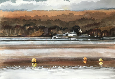Painting of a lake with yellow buoys in the foreground looking over to a white building with trees beyond