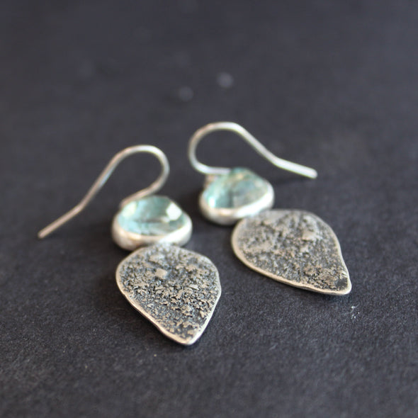 Textured silver with aquamarine stone drop earrings