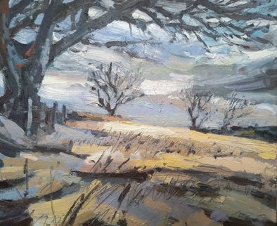 Landscape painting by Jill Hudson of a field painted in March with a large tree framing the left hand side