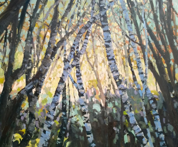 Jill Hudson painting of birch trees from the viewpoint of the forest floor