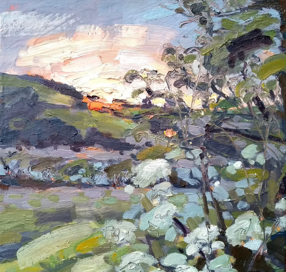 Jill Hudson oil painting of the sun setting over a field