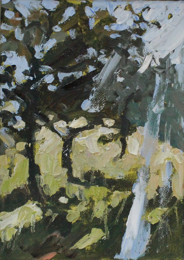 Abstract painting of dark tree in a green field with blue sky
