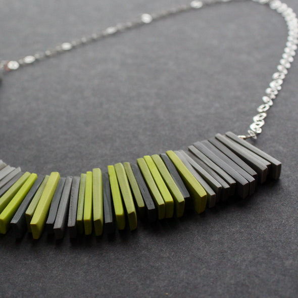 Clare Lloyd - modern Deco necklace, greys and chartreuse green