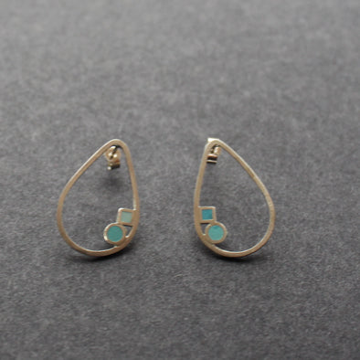 The Byre Gallery-Clare Lloyd- silver teardrop shaped earrings with pale blue stones