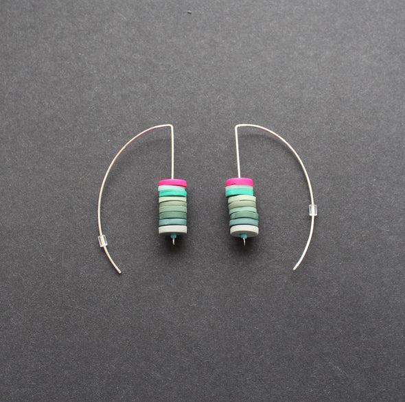 stacked disc earrings in soft greens and cerise