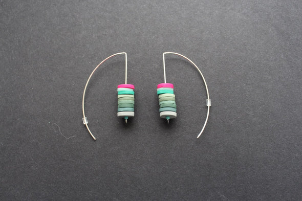Clare Lloyd - stacked disc earrings in soft greens and cerise